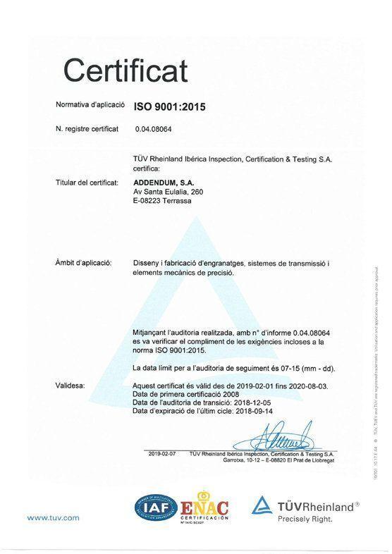 imagen certificado ISO Addendum 9001:2015 catalan