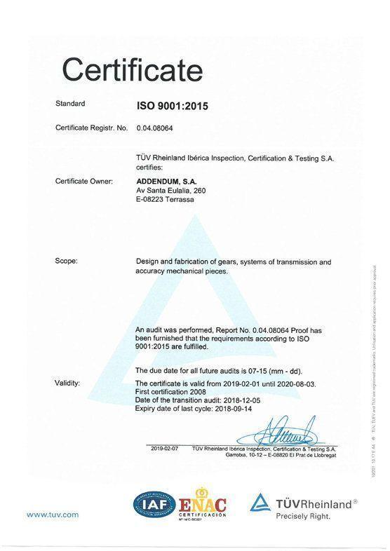 imagen certificado ISO Addendum 9001:2015 inglés