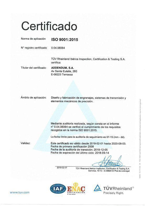 image certificado ISO Addendum 9001: